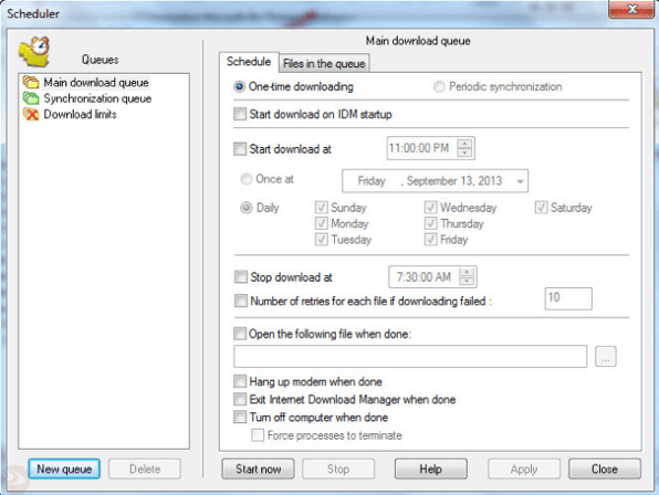 Internet download manager Download Settings