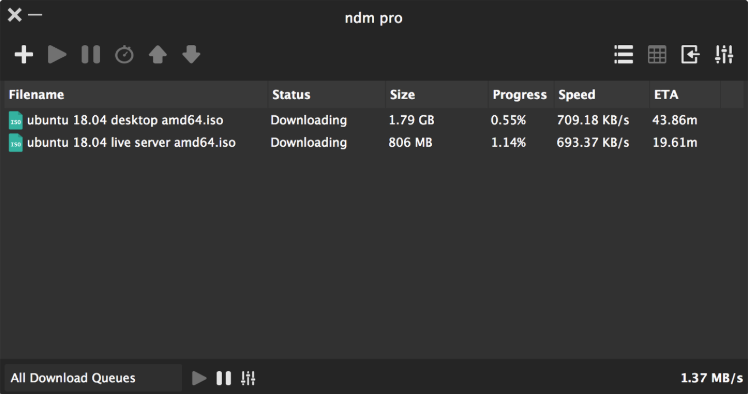 NDM can help to resume broken download on Mac