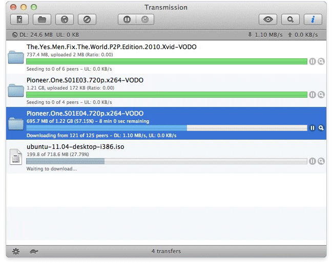 Transmission torrent client for Mac